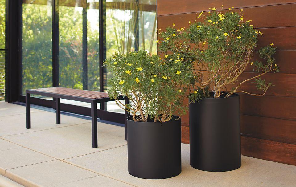Detail of round planter in graphite