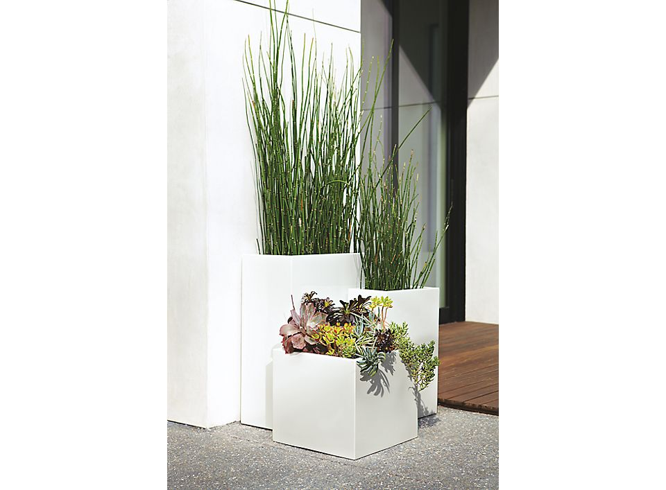 Detail of small square planter in white