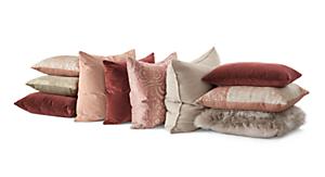 Collage of velvet throw pillows