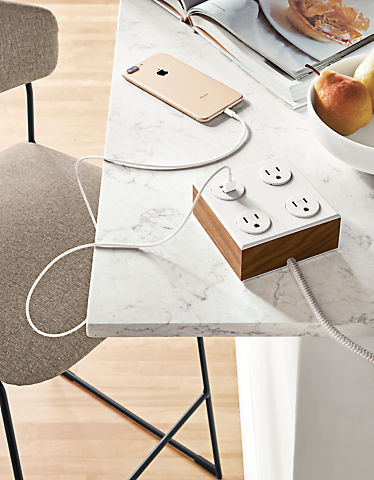 Detail of Verve tabletop power outlet
