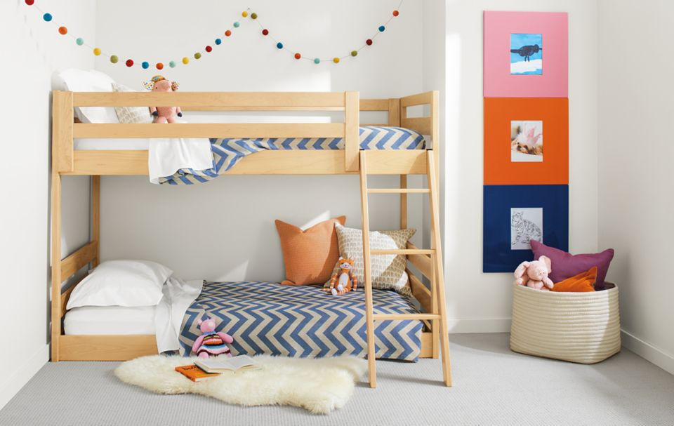Detail of mini Waverly bunk bed in maple