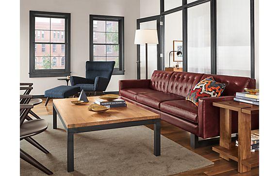 Wells Sofa in Portofino Syrah Leather Living Room