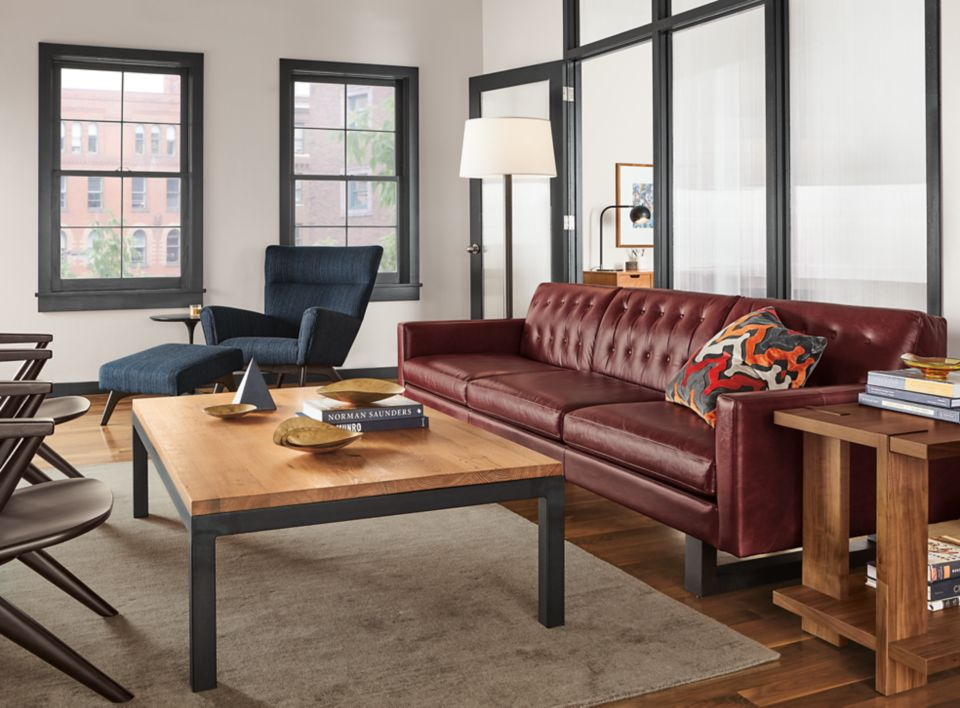 Wells 101 inch sofa in Syrah leather