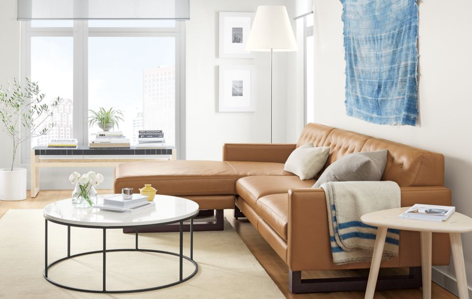 Wells 101 inch sofa with left arm chaise in camel