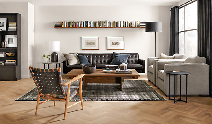 Living room with Wells sofa in lecco chocolate