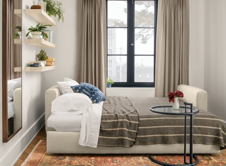 Detail of Whitman 86 inch pop-up platform sleeper sofa in arin linen fabric