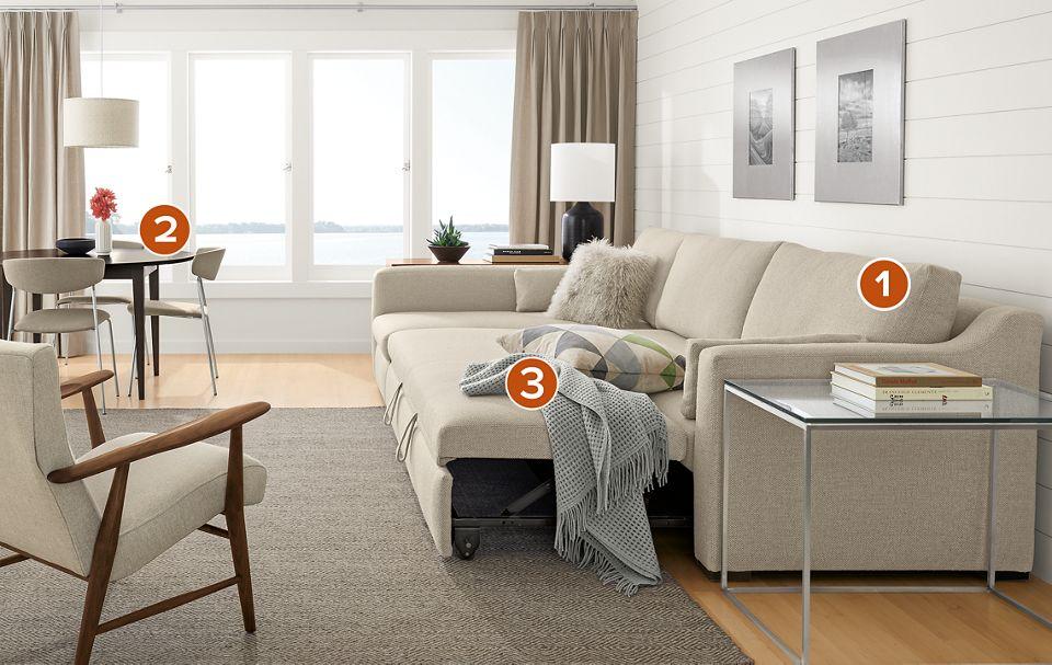 Whitman Sleeper Sofa With Chaise Living Room Room Board