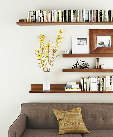 Living room with Wall shelf in walnut