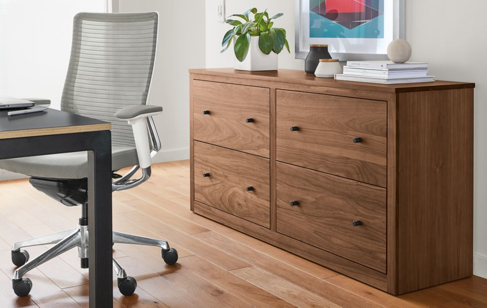 Detail of custom Woodwind storage cabinet in walnut