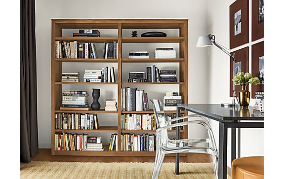 Share This Room: - Woodwind Custom Open-back Bookcase In Walnut - Modern Custom