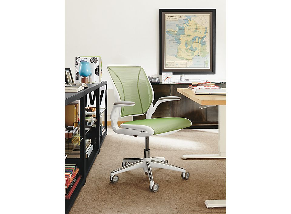 Detail of World office chair in white with Citron mesh