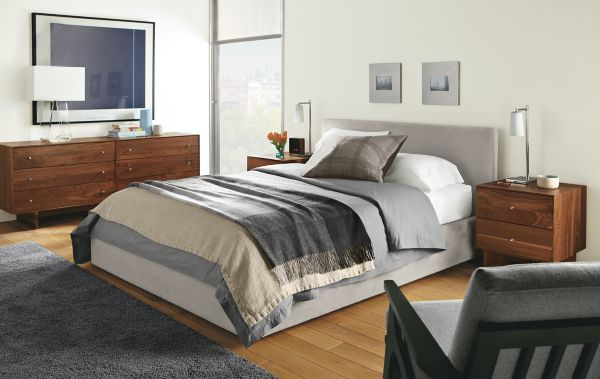 Wyatt Bed With Hudson Collection In Walnut Modern Bedroom