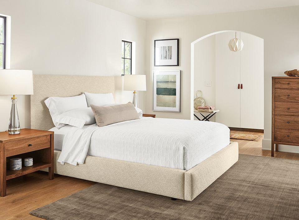 Detail of Wyatt storage bed in cream fabric