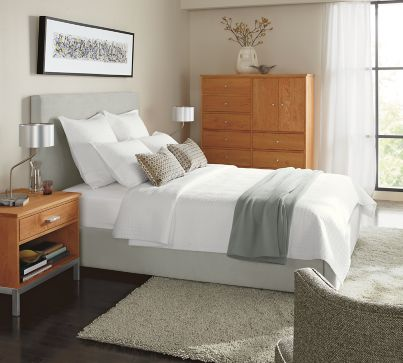 Wyatt Bed With Linear In Cherry Modern Bedroom Furniture