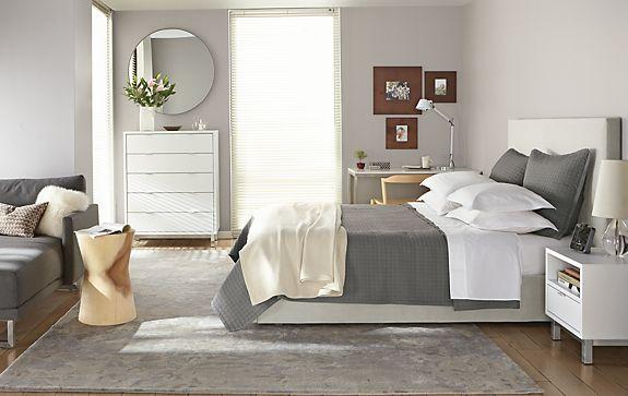 Wyatt Bed with White Copenhagen Room - Modern Bedroom Furniture ...