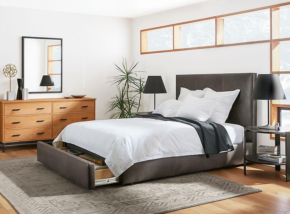 Wyatt storage bed and Linear dresser