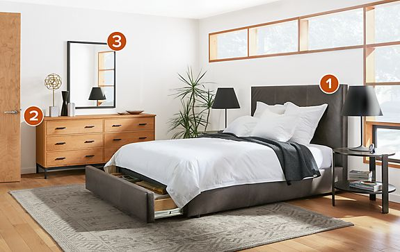 Wyatt Leather Storage Bed with High Headboard