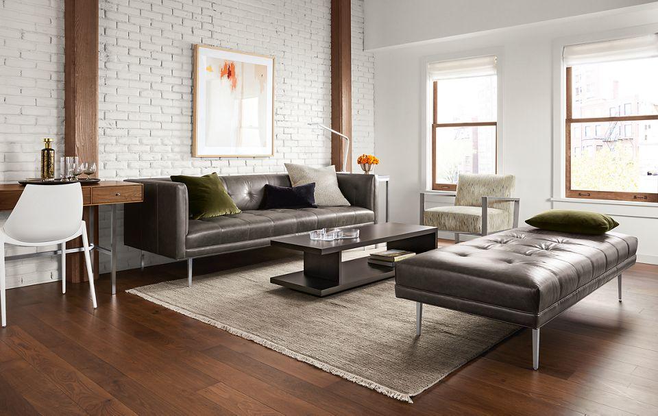 Detail of Wynwood 90 inch sofa in portofino smoke