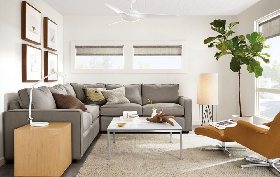 Detail of York three-piece sectional in Dawson Cement fabric