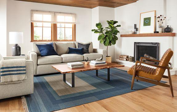 Living Room York york three-seat sofa in sumner linen - modern living room