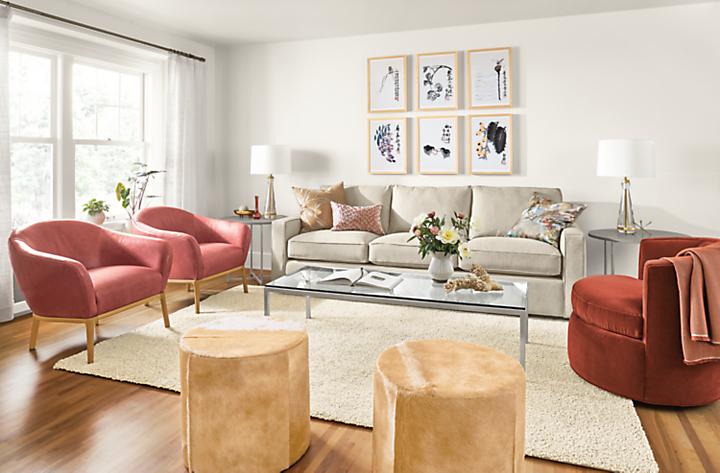 Detail of York sofa with Sadie chairs, Otis swivel chair and Qi Baishi wall art