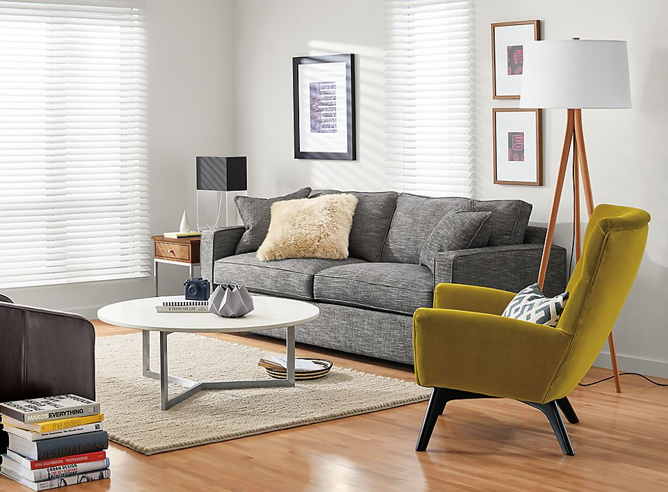 York Sofa In Townson Graphite With Amos Chairs