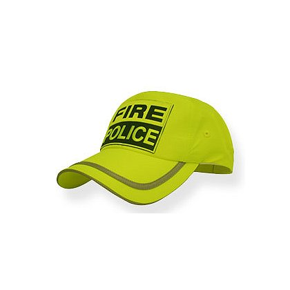 Fire-Police Hat, Hi-Vis Neon Yellow with Reflective Silver Taping