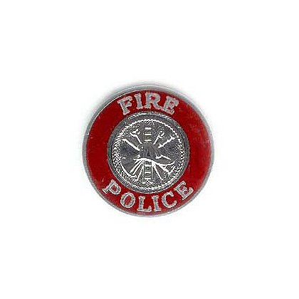 TheFireStore Fire Police Collar Emblem, Silver & Red