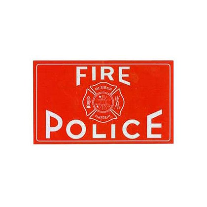 Fire Police Reflective Decal, White w/Red Imprint