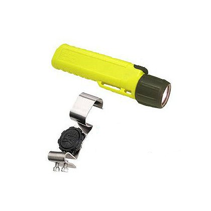 Underwater Kinetics 4AA Class 1 Div 2 Xenon Flashlight and Stainless Steel Flashlight Clip