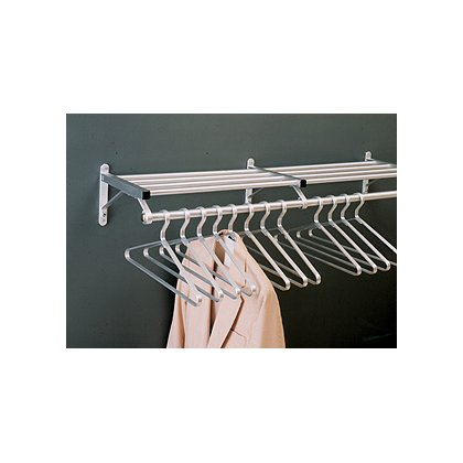 Glaro Wall Mounted Aluminum Coat Rack, One Shelf w/Hanger Bar