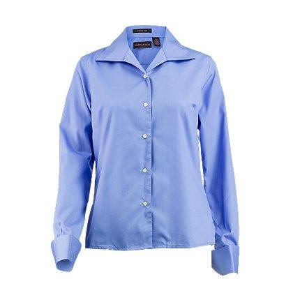 UltraClub Whisper Elite Button-Down Long Sleeve Twill Shirt For Women
