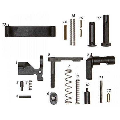 ALG Defense AR15/M4 Mil-Spec Lower Parts Kit (Less Trigger, No Grip)