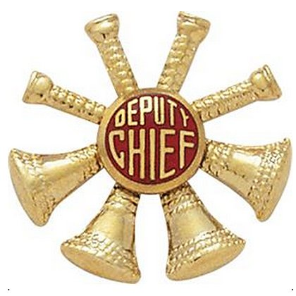 Smith & Warren Hat/Shield Medallion, 4 Crossed Bugles w/Deputy Chief in Center, Di-Cut