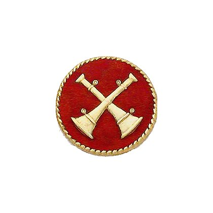 Smith & Warren Collar Insignia, 2 Crossed Bugles w/Red Enamel