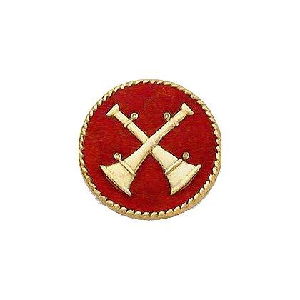 Smith & Warren Collar Insignia, 2 Crossed Bugles w/Red Enamel