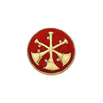 Smith & Warren Collar Insignia, 3 Crossed Bugles w/Red Enamel