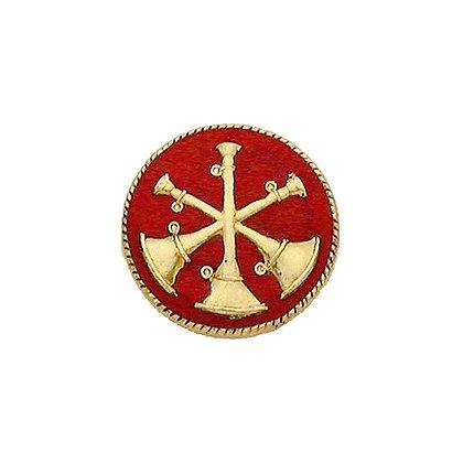 Smith & Warren Collar Insignia, 3 Crossed Bugles w/Red Enamel