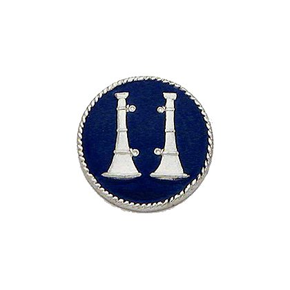 Smith & Warren Collar Insignia, 2 Standing Bugles w/Blue Enamel