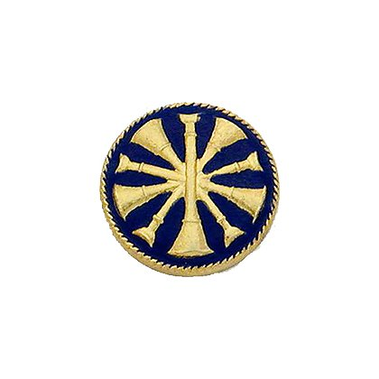 Smith & Warren Collar Insignia, 5 Crossed Bugles w/Blue Enamel