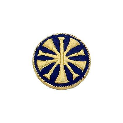 Smith & Warren Collar Insignia, 5 Crossed Bugles w/Blue Enamel