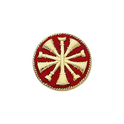 Collar Insignia, 5 Crossed Bugles w/ Red Enamel, Sold Individually