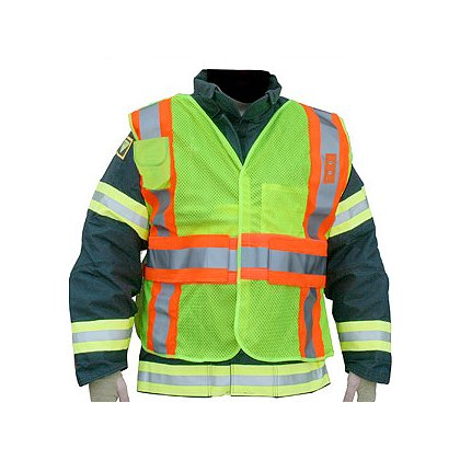 Lakeland ANSI 207-2006 Hi-Vis FIRE POLICE Public Safety Vest, Ventilated 5-Point Breakaway, Badge Tabs, Radio Pocket, FR Polyester Mesh