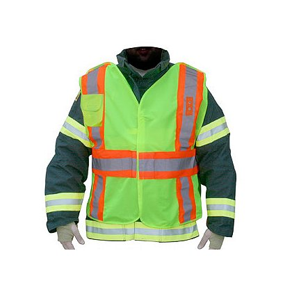 Lakeland ANSI 207-2006 Hi-Vis FIRE POLICE Public Safety Vest, 5-Point Breakaway, Badge Tab, Radio Pocket, FR Solid Polyester