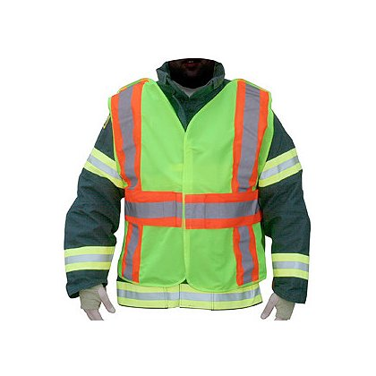 Lakeland ANSI 207-2006 Hi-Vis Public Safety Vest, 5-Point Breakaway, FR Solid Polyester