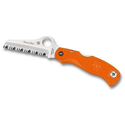 Spyderco 79mm Rescue Knife, Stainless Steel, Sheepfoot