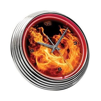 Neon, Flame & Chrome Clock