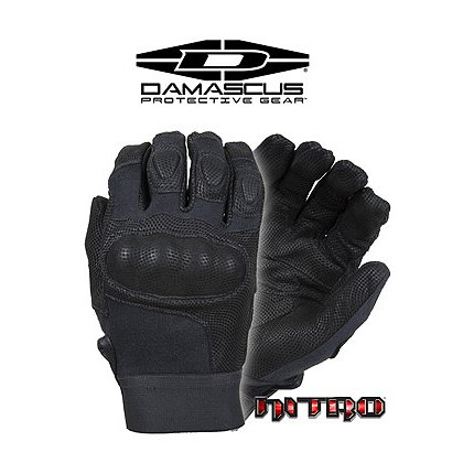 Damascus NITRO, Kevlar Tactical Gloves, Carbon Tek Knuckles, Black