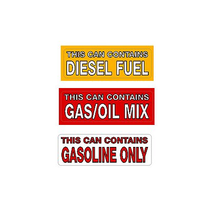 Exclusive Gas Can & Power Tool Fuel ID Labels