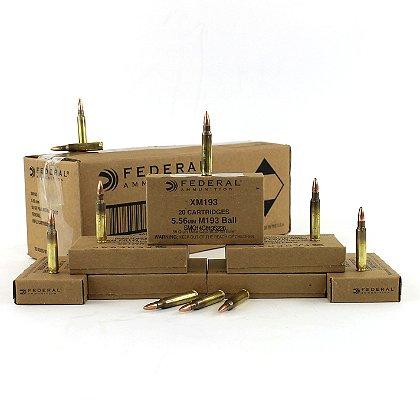 Federal Cartridge Co. 5.56x45mm NATO 55 Grain XM193 FMJ  Boat Tail, Box of 20